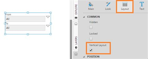 vertical layout xml design tips for parameters and filters parameters