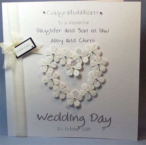 Handmade Personalised Cards - personalised handmade flower congrats wedding day