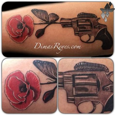 tattoo gun for animals black and grey pistol and flower tattoo by dimas reyes