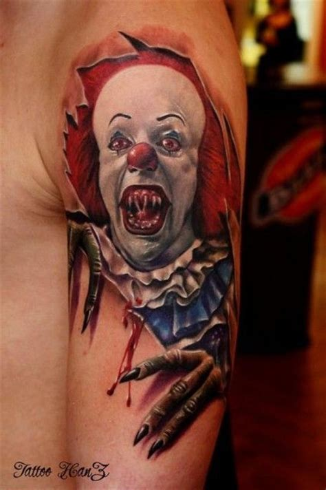 spooky clown skin rip tattoo by hanz pennywise
