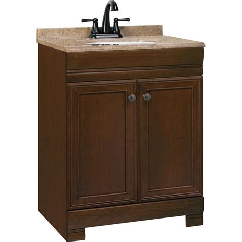 Shop style selections windell auburn integral single sink bathroom vanity with solid surface top