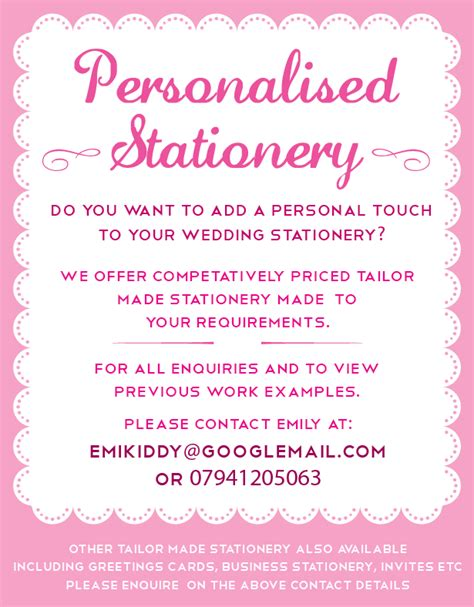 Personalised Wedding Stationery by Emily Kiddy Personalised Wedding Stationery