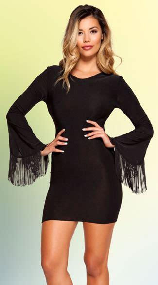 bell sleeved fringe mini dress fringe mini dress long