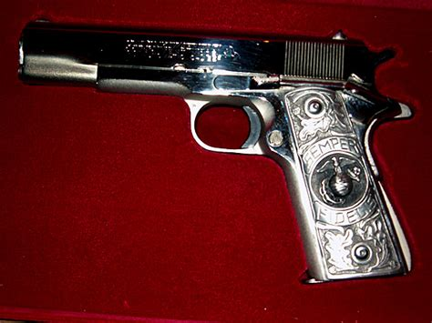 Handmade Gun Grips - 1911 custom gun grips solid pewter usmc eagle semper fi