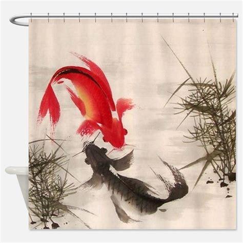Koi Fish Shower Curtains Koi Fish Fabric Shower Curtain