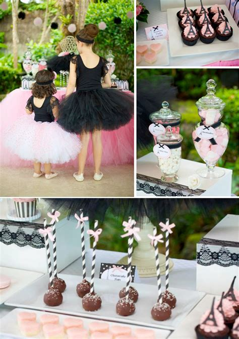karas party ideas parisan chic ballerina ballet pink black girl party planning ideas