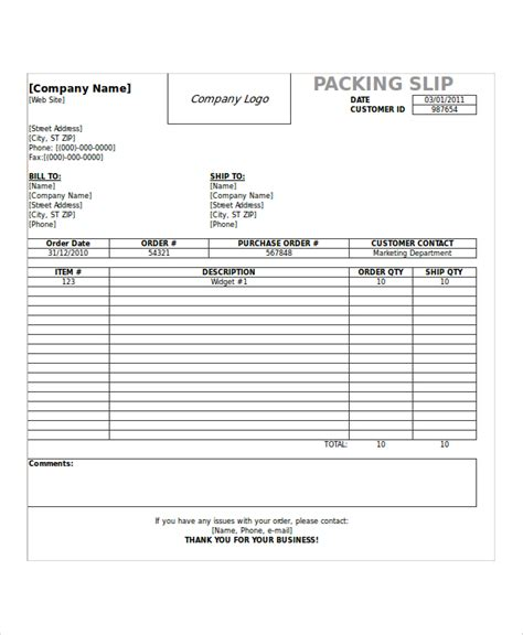 shipping slip template sle shipping slip templates 6 free documents