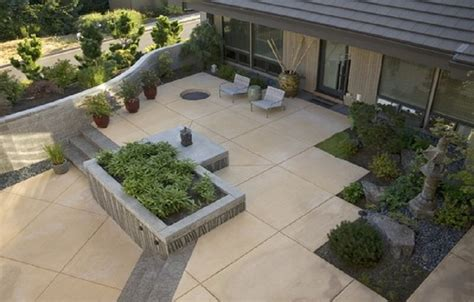 small concrete backyard ideas taupe eagle concrete stain garden concrete patios