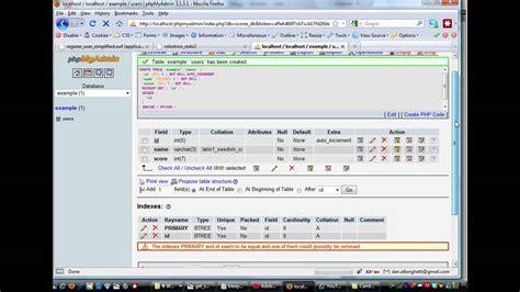 tutorial flash database create a mysql database using phpmyadmin flash game with