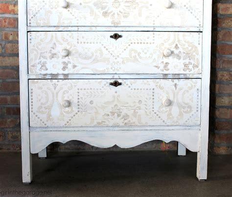 rustic stenciled antique dresser makeover girl