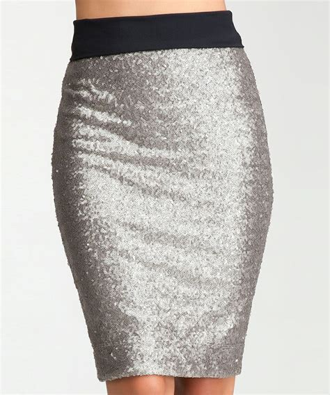 silver sequin pencil skirt get in my closet