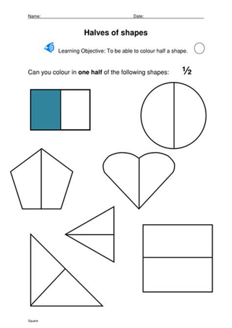 shapes worksheet ks1 halving shapes by stevm117 teaching resources tes