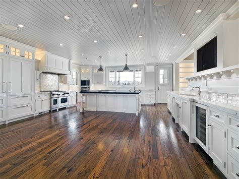 Wood Floor Kitchen Large Remodel Kitchen Design Painted With All White Interior Color Decor And Oak Wood Cabinet