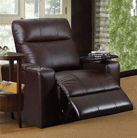 plaza brown leather power recliner  tray  row