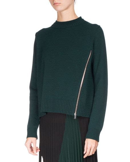 Zip Detail Pullover proenza schouler knit pullover sweater w zip detail green