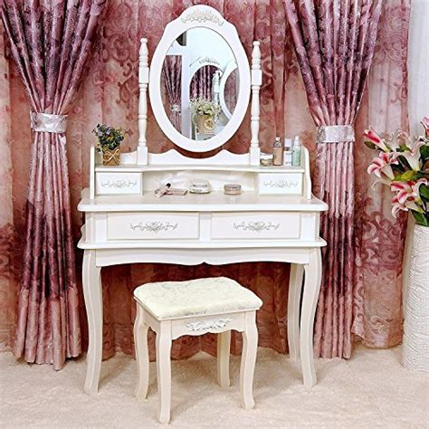 vanity set with table mirror and stool bedroom makeup tribesigns wood makeup vanity table set with mirror and
