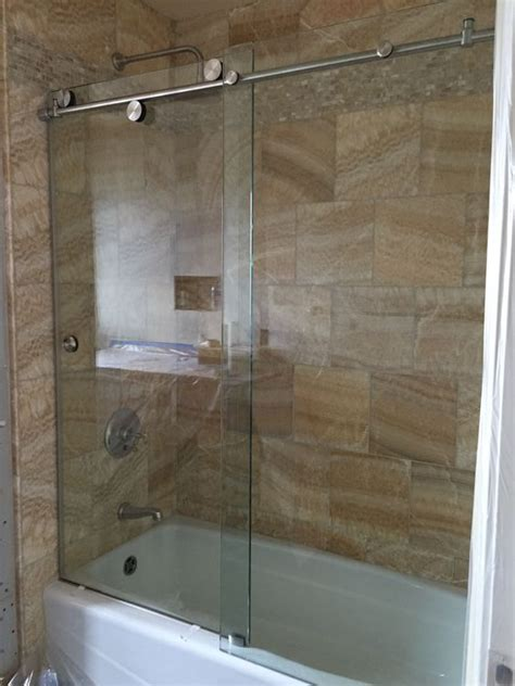 Skyline Shower Door Cardinal Skyline Series Enclosure 1 2 Quot Clear Tempered Glass With Brushed Stainless Hardware