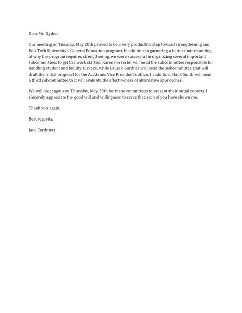 business letter format for meeting image gallery letter format after meeting