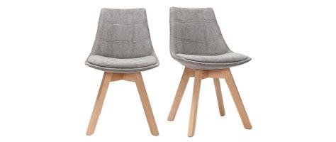 lot de 2 chaises design scandinave bois et tissu gris
