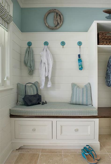 mudroom bench cushions white and blue cottage mudroom with open lockers cottage laundry room