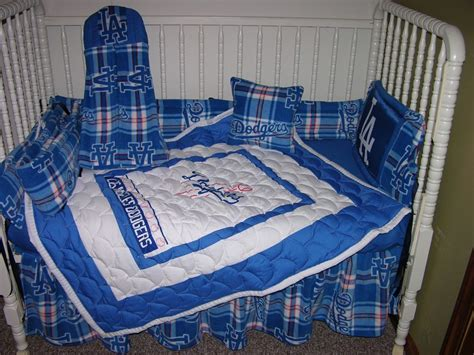 dodgers bed set new crib nursery bedding set made w la dodgers fabric ebay