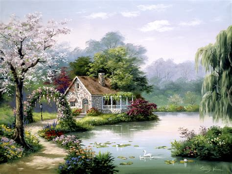 Cottage Paintings by Cottage Retreat By Sung 0623 Tile Mural Creative Arts
