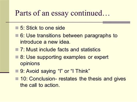 parts of an essay introduction lead ideas and parts of a thesis