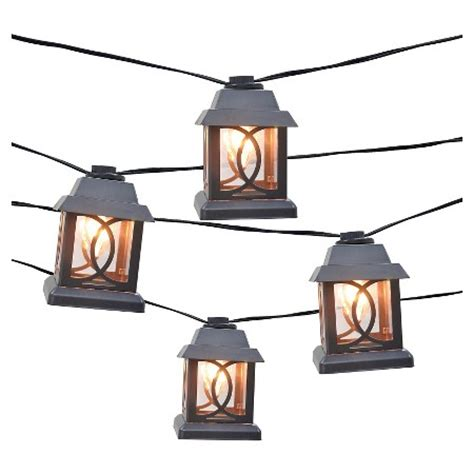 10ct Decorative String Lights Metal Lantern Cover With Metal Lantern String Lights