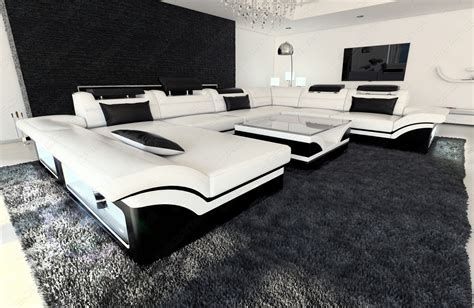 ausgefallene wohnlandschaft leather sectional sofa enzo white black ebay