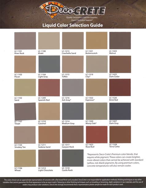 brickform color chart color charts harber concrete construction llc