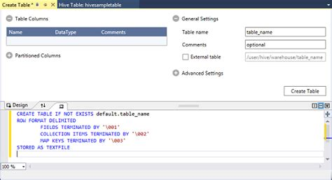 Hive Create Table by Get Started Using Hdinsight Tools For Visual Studio Azure