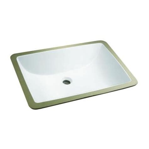 glacier bay rectangle undermounted bathroom sink in white