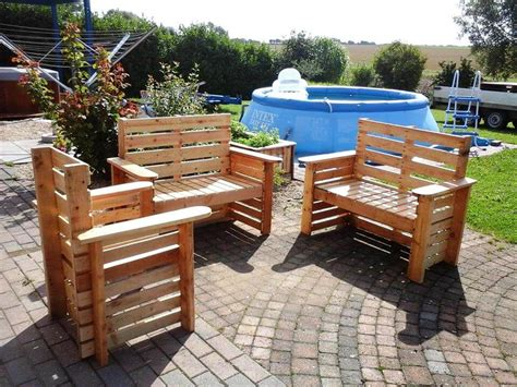 Patio Furniture Made Out Of Pallets Diy Wooden Pallet Patio Furniture Set 101 Pallet Ideas