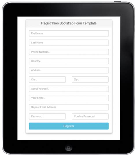 bootstrap form templates registration bootstrap form template free source code