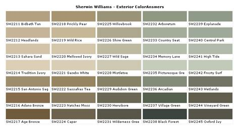 paint charts exterior sherwin williams exterior paint colors