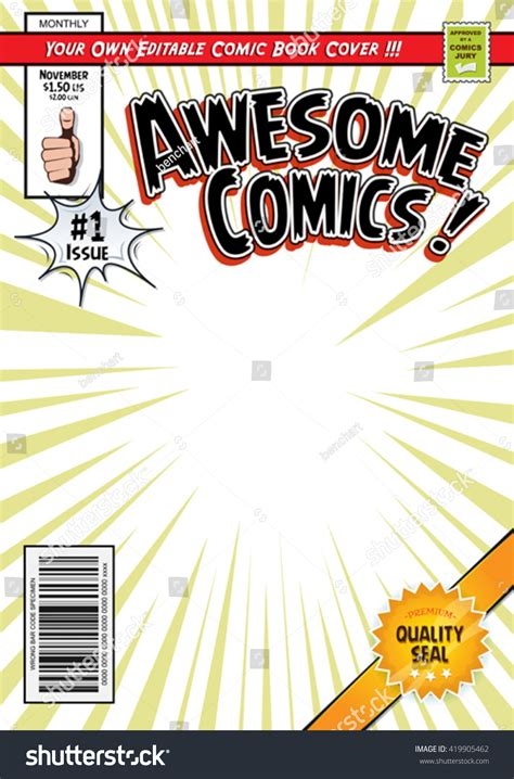 Comic Book Cover Template Illustration Cartoon Editable Stock Vector 419905462 Shutterstock Comic Book Cover Template