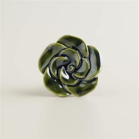 World Market Knobs by Ceramic Green Floral Knobs Set Of 2 World Market