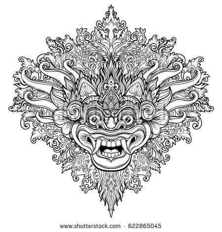 barong traditional ritual balinese mask vector stock