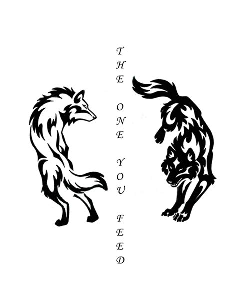 anger tattoo designs two wolves exist inside of each in a state of constant