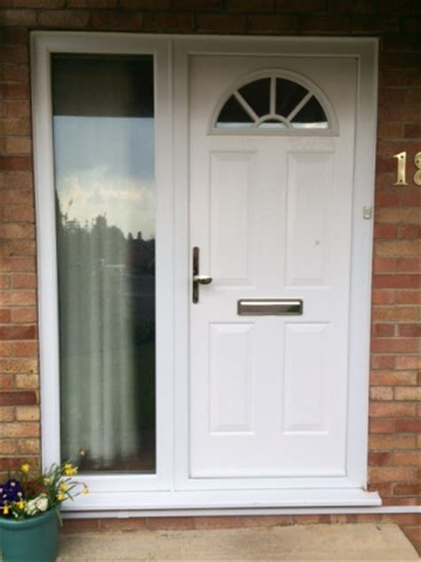 White Upvc Front Door With Side Panel Replacement Windows And Doors