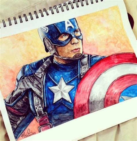 Captain America Vintage 2 Oceanseven 17 year artist gains fame with colored pencil drawings of disney marvel and more