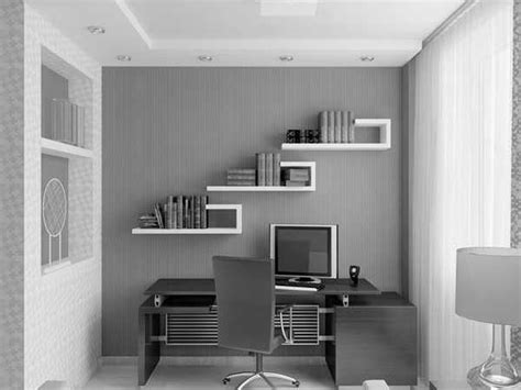 Small Office Design Ideas Small Modern Office Design In Grey And White Built In Shelving With White Table Modern Workspace