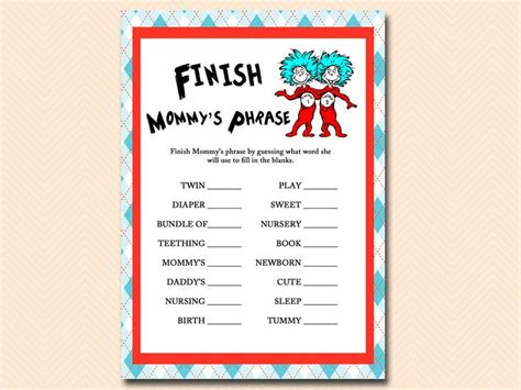 Dr Seuss Thing 1 And Thing 2 Baby Shower by Dr Seuss Thing 1 Thing 2 Baby Shower Magical Printable