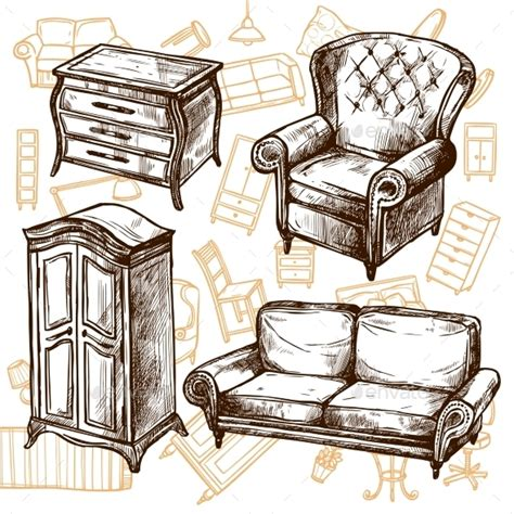 furniture sketch seamless concept by macrovector graphicriver