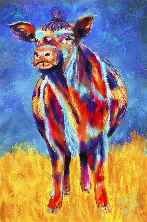 colorful cow painting colorful angus cow painting by wrighton