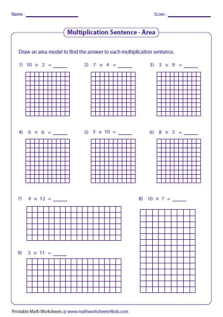 Math Models Worksheets by Array Math Worksheets Math Multiplication Worksheets 3rd