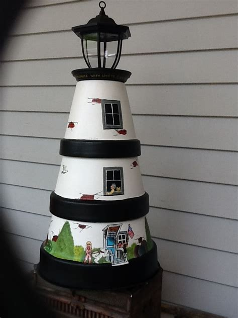 solar lights and more solar light house design from clay pots painted by flock