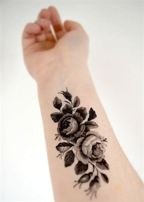 small black and white flower tattoos large vintage floral temporary black and white