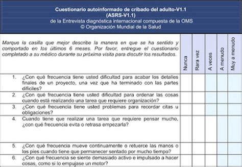 preguntas para detectar problemas familiares tdha en adultos abril 2011