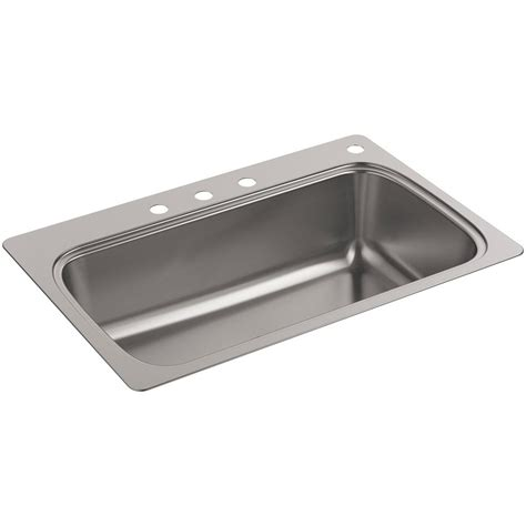 stainless steel single bowl kitchen sink kohler verse drop in stainless steel 33 in 4 hole single